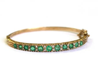 Emerald/Diamond Bangle in 9KT European Yellow Gold