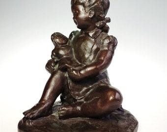 John Terken Young Girl w Rag Doll 1978 Reproduction Sculpture Raggedy Ann Signed