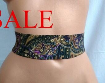 SALE Statement accessory Waist cincher Floral Stretch belt elastic cinch paisley belt womens summer elastic belt flowers boho