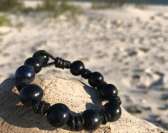 Black pearl and leather bracelet, black pearl bracelet, pearl and leather bracelet
