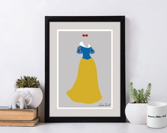 Disney's Snow White Poster/Print - minimalist snow white apple poster art decor
