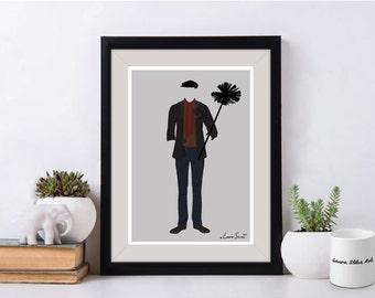 Disney Bert Mary Poppins Poster/Print - minimalist mary poppins chimney sweep nanny poster art decor