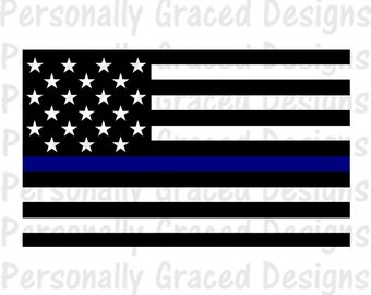 Car cutting sticker design - Thin Blue Line Decal Etsy