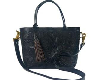 black tote satchel bag medium hand tooled w removable crossbody shoulder strap vintage bocas del toro woven fabric hammock with macrame  rh   etsy