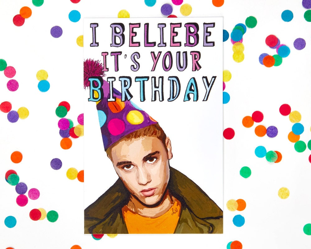 Justin bieber scrapbook ideas - Justin Bieber Birthday Card Funny Birthday Card Sorry Kanye West Diplo Kendrick Lamar 100 Recycled Paper