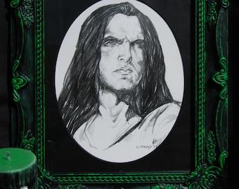 ORIGINAL Framed Peter Steele Pencil Portrait Drawing Type O Negative