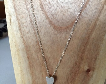 "Women Sterling Silver Heart Necklace on 16"" Chain; Heart choker; Sweetheart Necklace; Heart Charm; Valentines Heart; Girls necklace"
