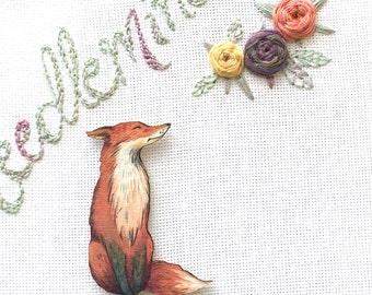 Lovely Fox Needleminder - Fox Needleknack - Neodymium Magnet - wood Animal Needleholder Cross Stitch Tool Embroidery Accessory