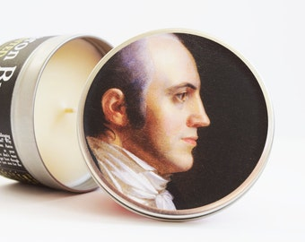 Aaron Burr-Scented Candle | 16 oz tin | Funny Historical Gift | And FYI Burr shot Alexander Hamilton, as depicted in the Hamilton musical