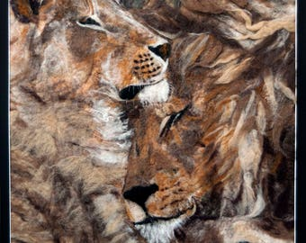 Lions painted with felt