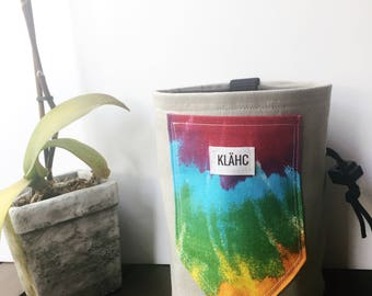 Large tie dye cell pocket rock climbing chalk bag