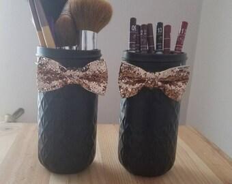 Black & Gold Makeup Jars.Bathroom Counter Storage.Mason Jar Makeup Brush Holder.Cosmetics Organizer.Black and Gold Bow Tie Jars