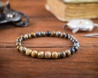 6mm - Picasso stone, jasper stone & tiger eye beaded stretchy bracelet, gemstone bracelet, mens bracelet, womens bracelet, natura bracelet