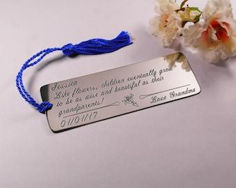 Gift for Granddaughter Bookmark,Grandson Bookmark, Grandchild Gift,Customised Bookmark Gift,Engraved Grandchild Keepsake,Gift for Grandson