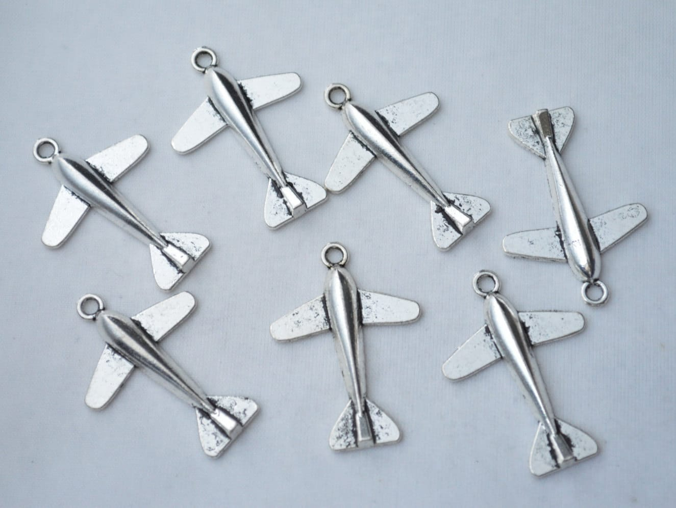5 pcs airplane charms jet charm antique silver tone 36x25mm