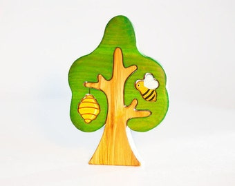 Waldorf wooden tree with bee and beehive Tree puzzle Nature table play set Toddler toy Imaginative play Wooden trees