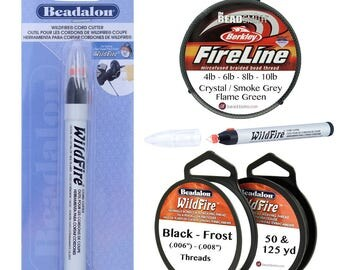 BeadSmith FIRELINE Thread, Beadalon WILDFIRE Bead Threads or WILDFIRE Cord Cutter