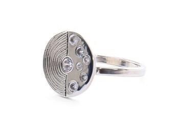 Sterling Silver Statement Disc Ring- Hand Engraved- Universe Pattern/Stars with Swarowski / Custom option available for Diamonds