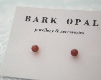 Round Carnelian Studs, Sterling Silver 4mm Red Gemstone Post Earrings