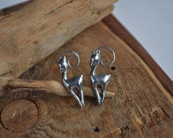 Sterling deer earrings vintage reindeer jewelry Sterling screw back screw on Holiday jewelry OD2069