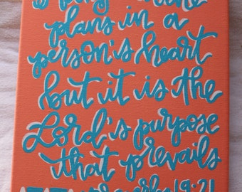 The Lord's Purpose Will Prevail Proverbs 19:21 Canvas Verse Quote Art Painting Calligraphy
