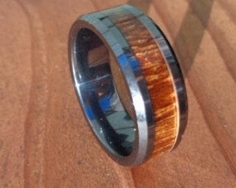 Black Ceramic Band Ring for men,Wedding Ring,Mens Wood Ring,Black Ceramic Band Ring, Koa Wood Wedding Ring Oval Mens Wedding Ring