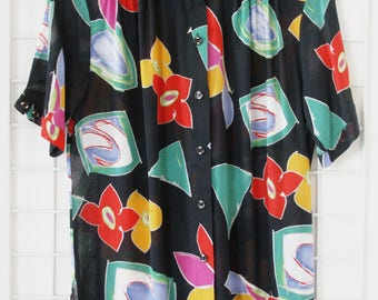 Vintage Oversize 90s Blouse transparent Shirt All Over Flower Print Size One Size