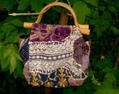 BOHO Indian handbag woven Embroidered tote bag Ethnic purple bag Hippie  Patchwork Bag ECO cotton tribal  bag gift for her mother