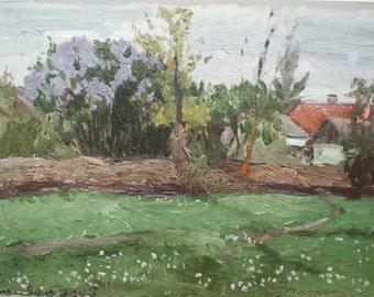 Sale! SPRING RURAL LANDSCAPE Vintage Original Oil Painting by a Soviet Ukrainian artist Polyakov A. 1985, Old Signed artwork, Meadow, Lilac