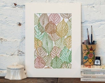 Leaf Skeleton Art cross stitch pattern| Modern autumn leaves bone counted chart| Minimalist nature wall decor| Large size instant download