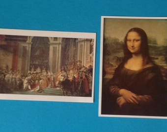 Pair of Art Postcards/Mona Lisa - Leonard de Vinci/Coronation of Napoleon - Louis David/ Louvre Paris - 1992