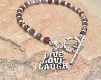 Red bracelet, message bracelet, charm bracelet, agate bracelet, Hill Tribe silver bracelet, positive bracelet, sundance style bracelet