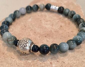 Gray and black bracelet, cat's eye bead bracelet, Hill Tribe silver bracelet, stretch bracelet, elastic bracelet, boho bracelet gift for her
