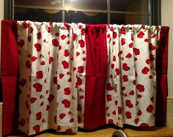 """Red Poppies; Curtain Panels 31""""x22""""; Kitchen Curtains, Bathroom Curtains"""