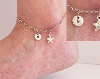 Silver star anklet, star anklet, silver star, ankle bracelet, silver anklet, anklet, beach jewellery, anklet, yoga jewellery,SPSTAAN01
