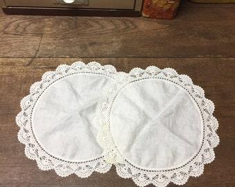 Vintage Doilies Hankies Set of 2 White