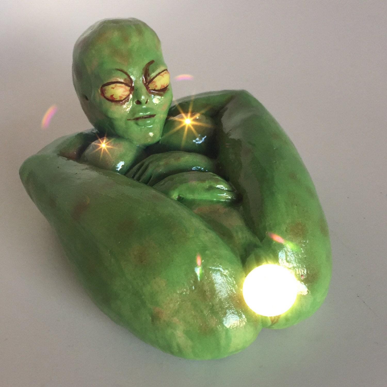 Mature: Green Alien Martian Naked Contortionist Alien