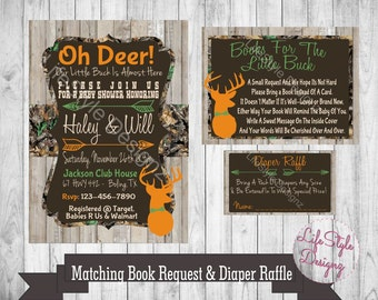 Camo Baby Shower Invitation   Oh Deer  Baby Buck On The Way   Baby Boy