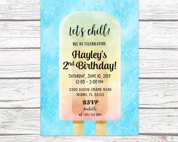 Popsicle Birthday Invitation, Popsicle Party Invitation, Watercolor Birthday Invite Girl, Pool Party Invitation Printable