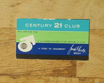 1962 Seattle World's Fair- special ticket stub for charter club members