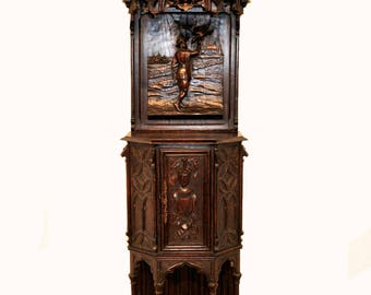 Antique French Gothic Cabinet, Medieval Design Influence Man with Bird Narrow and Tall #7099