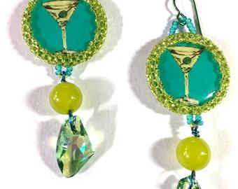Chartreuse & Aqua Martini Earrings