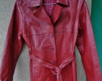 Woman leather jacket ,Burgundy leather jacket,Leather jacket vintage