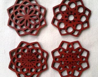 Geometric Wood Coasters, Laser Cut, Bloodwood