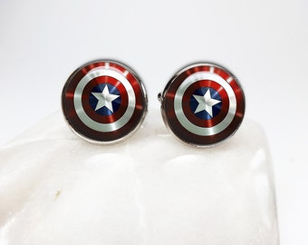 Captain America Cuff links Capt America cufflinks Shield cuff links capt america sheild super hero cufflinks superhero jewelry marvel gift