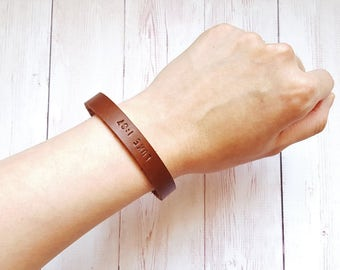 Leather Cuff Bracelet - Personalized Mens Bracelet - Minimalist Third Anniversary Gift - Gifts for Mens - Gifts under 20