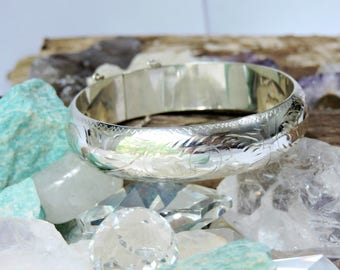 Bangle Bracelet Etched Sterling Silver