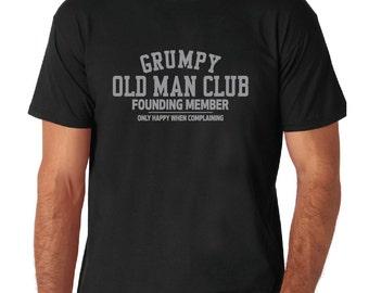 Grumpy Old Man Club White, Black or Gray T-Shirt or Black, Gray or Navy Tank Top