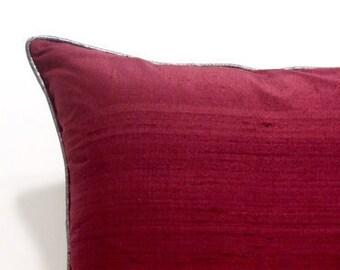 Burgundy Red Throw Pillows,Silk Pillow,Sofa Throw Pillows,Textured Pillow  Cover,