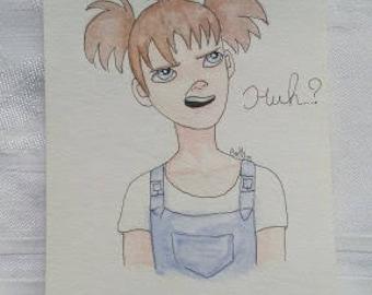 Huh? Original Watercolor and Pen painting
